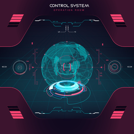Future sight action mode with earth  interface UI design graphic illustration