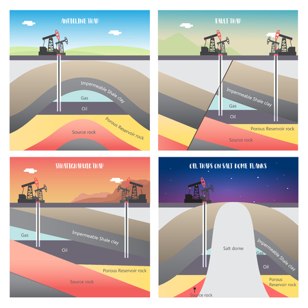 Diagram structural different types of oil and gas traps illustration Vectores