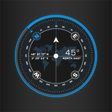 Compass digital HUD navigate illustration design  イラスト・ベクター素材