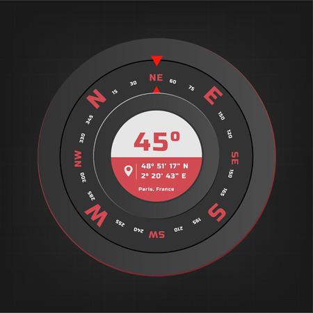 Compass digital HUD navigate illustration design Stock Illustratie