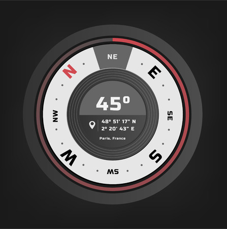 Compass digital HUD navigate illustration design 일러스트