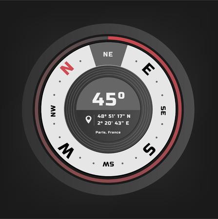 Compass digital HUD navigate illustration design Vettoriali