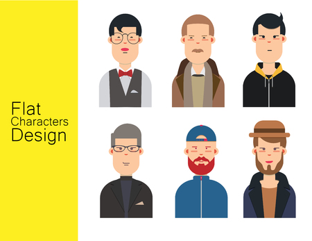 Men illustration avatar vector set. Stock Illustratie