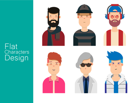 Men illustration avatar vector set.  イラスト・ベクター素材