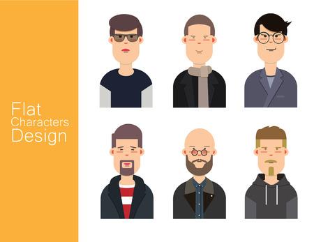 Men illustration avatar vector set. 일러스트