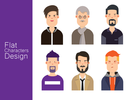Men illustration avatar vector set. Çizim