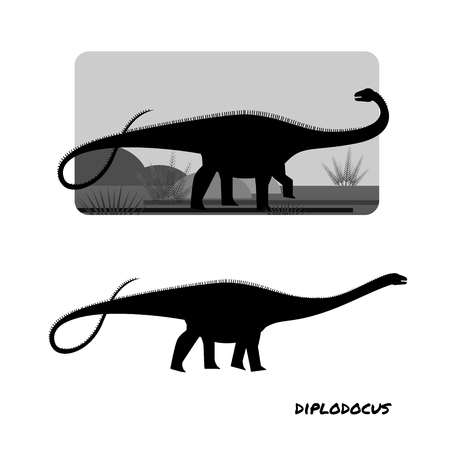 Diplodocus sauropods giant plant eaters largest land animals 스톡 콘텐츠 - 127517420