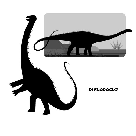 Diplodocus sauropods giant plant eaters largest land animals 스톡 콘텐츠 - 127517234