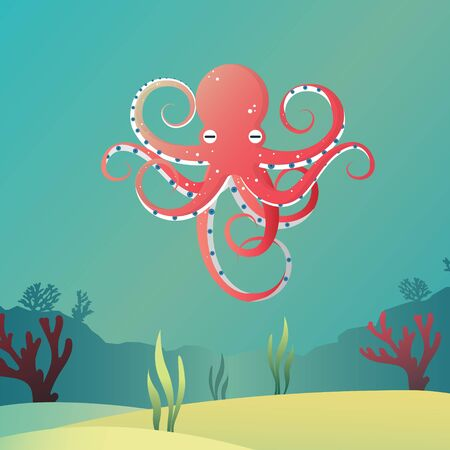 Giant octopus vector in cartoon style.