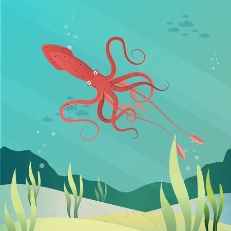Giant squid in ocean vector illustration style.