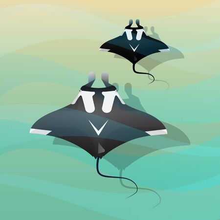 Manta Ray in ocean vector illustration style.