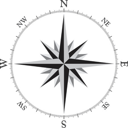 위도: Compass Rose Illustration