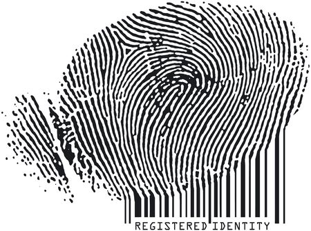 Registered Identity - Fingerprint becoming barcode photo