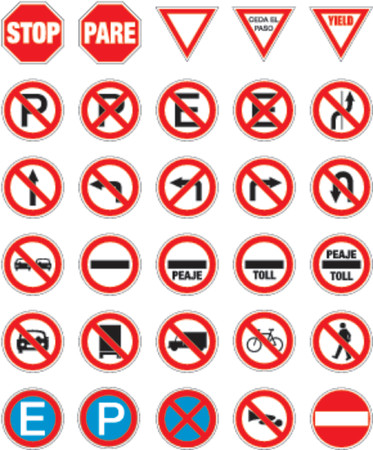 road signs in vector format pack 1 Illustration