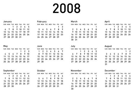 schedulers: 2008 Calendar, in horizontal format. The additional format (eps) is both as fonts and as curves. Stock Photo