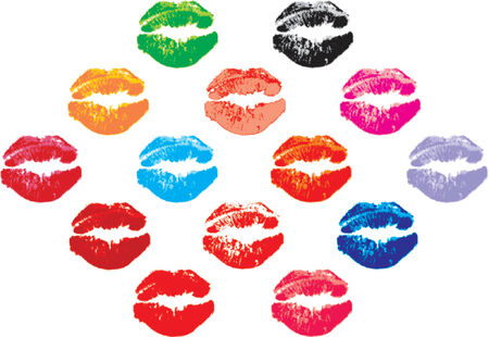 hot lips: bunch of kisses, in different colours