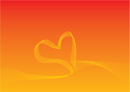 Background with gradient and curved lines forming a heart. ideal for valentines day Illustration