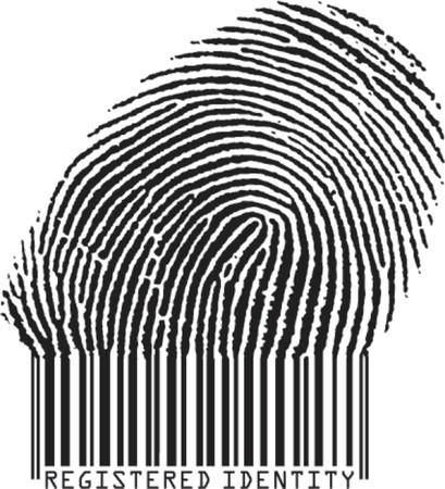 Geregistreerd Identity concept: vingerafdruk steeds barcode