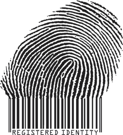 Registered Identity concept: fingerprint becoming barcode Stock Vector - 722465