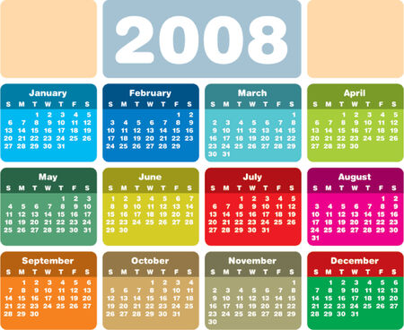 day planner: Colorful 2008 calendar