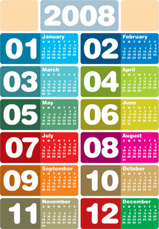 schedulers: Colorful 2008 Calendar