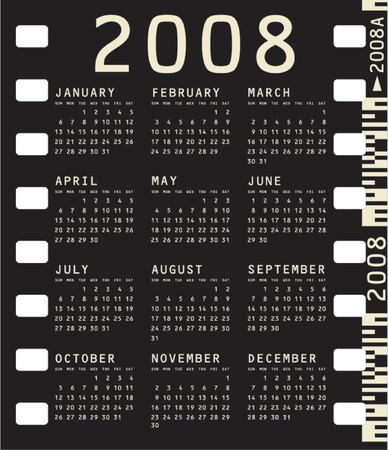 scheduler: 2008 Calendar inside a photographic film frame