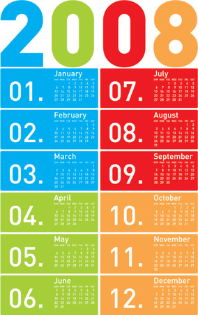 schedulers: Colorful Calendar for 2008.