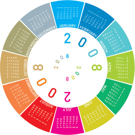 schedulers: Colorful Calendar for 2008. Rotating design.