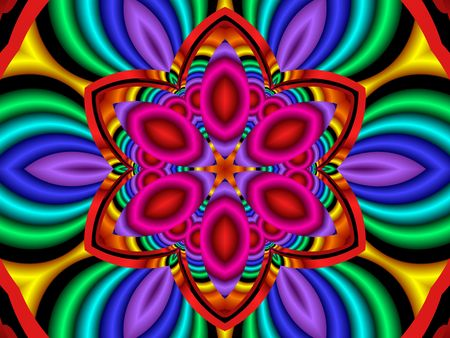 Colorful, psychedelic flower, generated from a fractal design.  Stock Photo