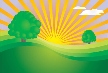 lightbeam: sunrise in a meadow landscape Illustration