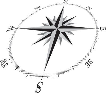 puntos cardinales: Compass Rose ilustración, en perspectiva 3D.
