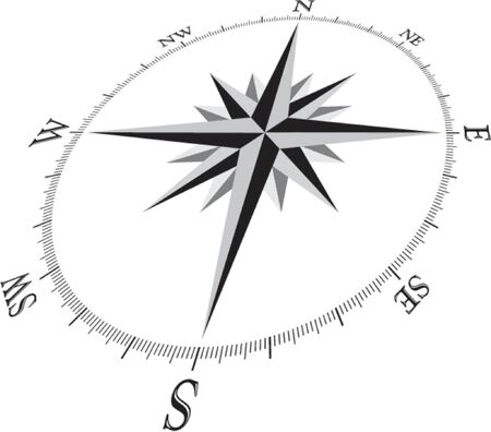 puntos cardinales: Compass Rose ilustraci�n, en perspectiva 3D.