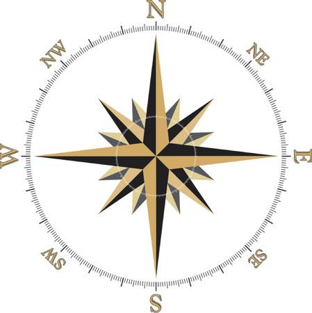 cardinal: Black and Gold Compass Rose illustration