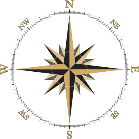 puntos cardinales: Negro y oro de la ilustración Compass Rose  Vectores