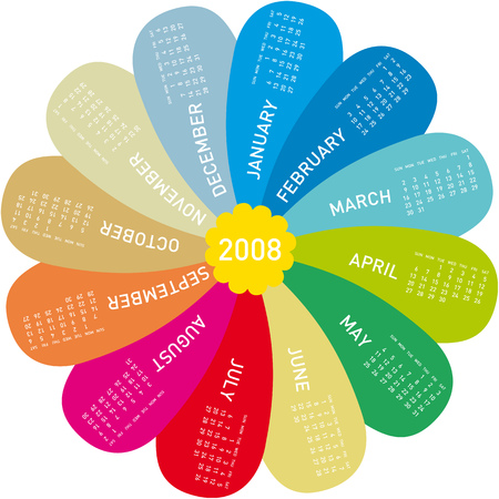scheduler: Colorful Calendar for 2008, shaped as a flower