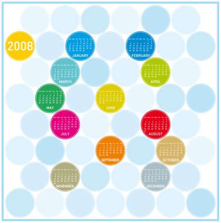 almanac: Colorful Calendar for 2008, with a circles design.