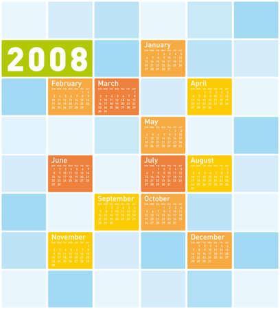 Colorful Calendar for 2008, with a squares design. Vector