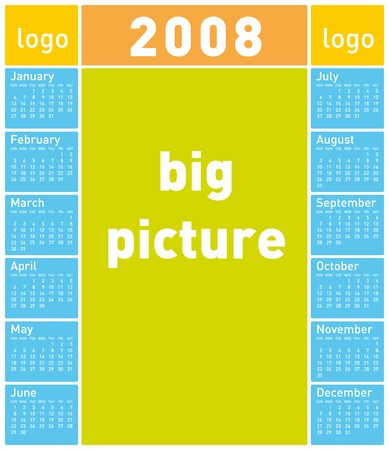 scheduler: Colorful Calendar for 2008. With Space reserved for logo and a huge picture.
