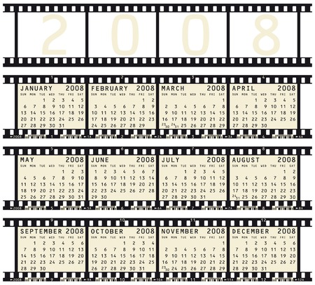 2008 Calendar Inside Photographic Film Strips Royalty Free Cliparts
