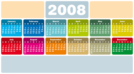 schedulers: Colorful Calendar for 2008. Rounded Design. With Space reserved for logo and text.