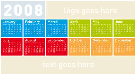 almanac: Colorful Calendar for 2008. With Space reserved for logo and text. Illustration