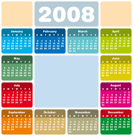 almanac: Colorful Calendar for 2008. Rounded Design. With Space reserved for logo and picture.
