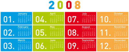 schedulers: Colorful Calendar for 2008. Horizontal design.