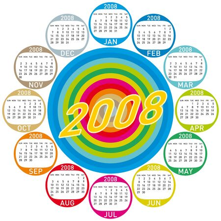 scheduler: Colorful Calendar for 2008. with a circles design. Illustration