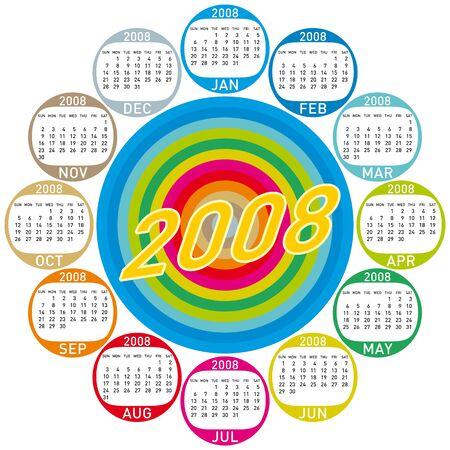 almanac: Colorful Calendar for 2008. with a circles design. Illustration
