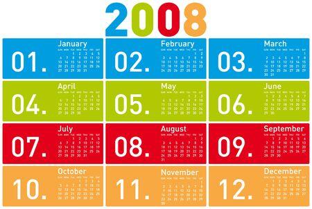 Colorful Calendar for 2008.  Vector
