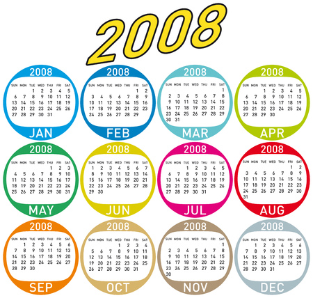 Colorful Calendar for 2008. with a circles design.
