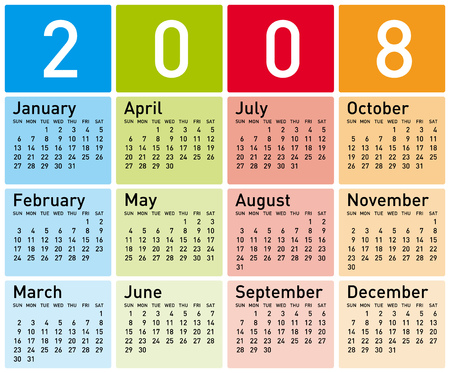 Colorful Calendar for 2008.  Vector