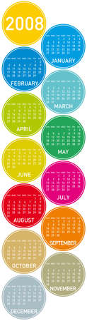 Colorful Calendar for 2008. with a circles design. vertical orientation Vector