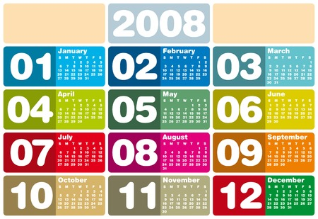 reserved: Colorful Calendar for 2008. With Space reserved for logo.